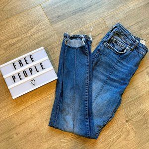 FREE PEOPLE High Rise raw hem ankle stretch jeans